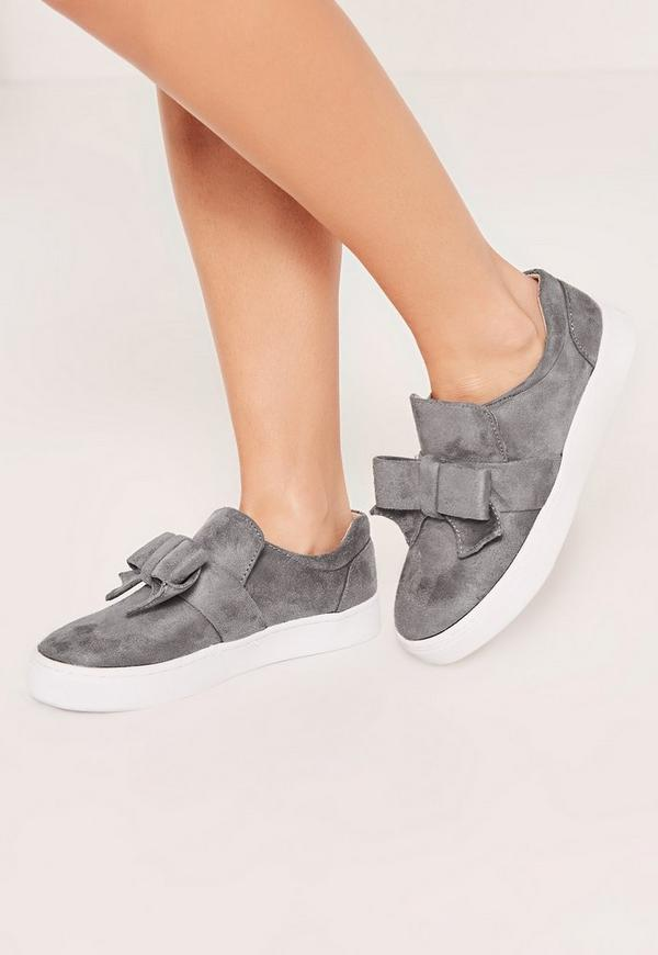 Grey Bow Detail Skater Pumps