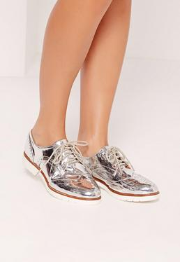 Metallic Brogues Silver