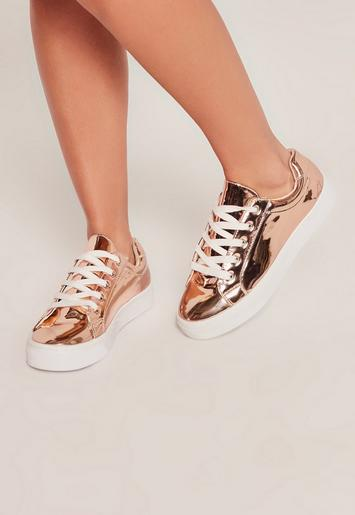 Rose Gold Metallic Lace Up Sneakers Missguided