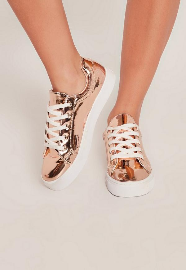 rose gold metallic lace up sneakers missguided. Black Bedroom Furniture Sets. Home Design Ideas