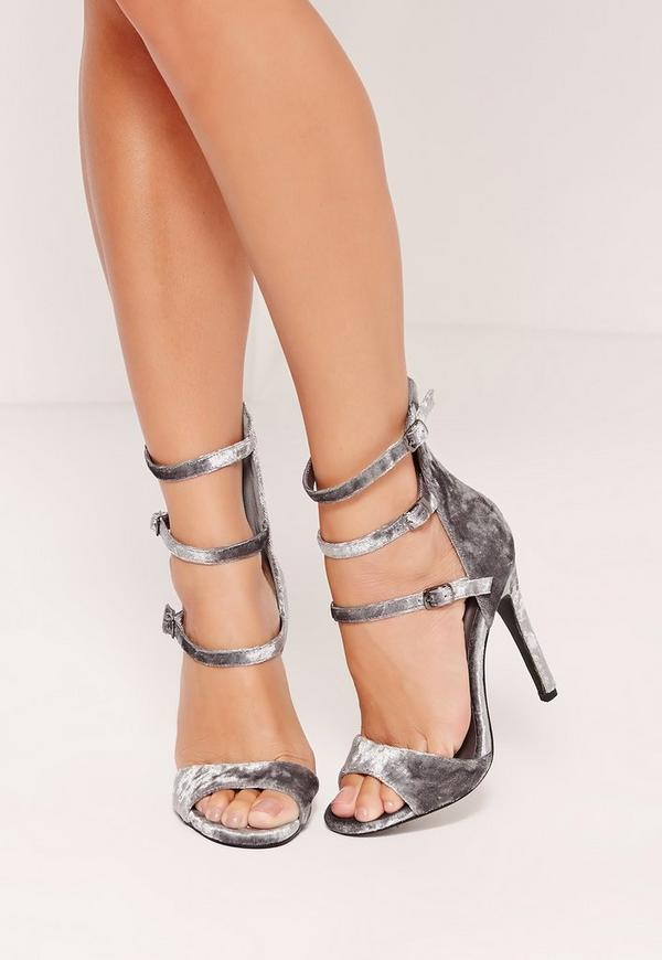 Velvet 3 Strap Barely There Heeled Sandals Grey