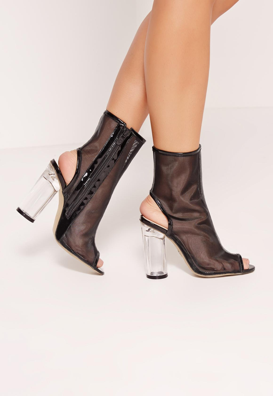 Black Peep Toe Transparent Block Heel Ankle Boots