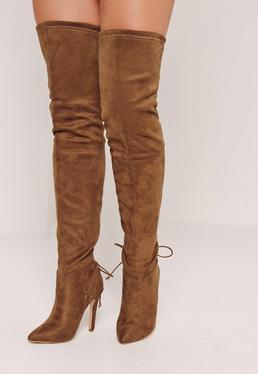 Tie Back Over The Knee Boots Brown