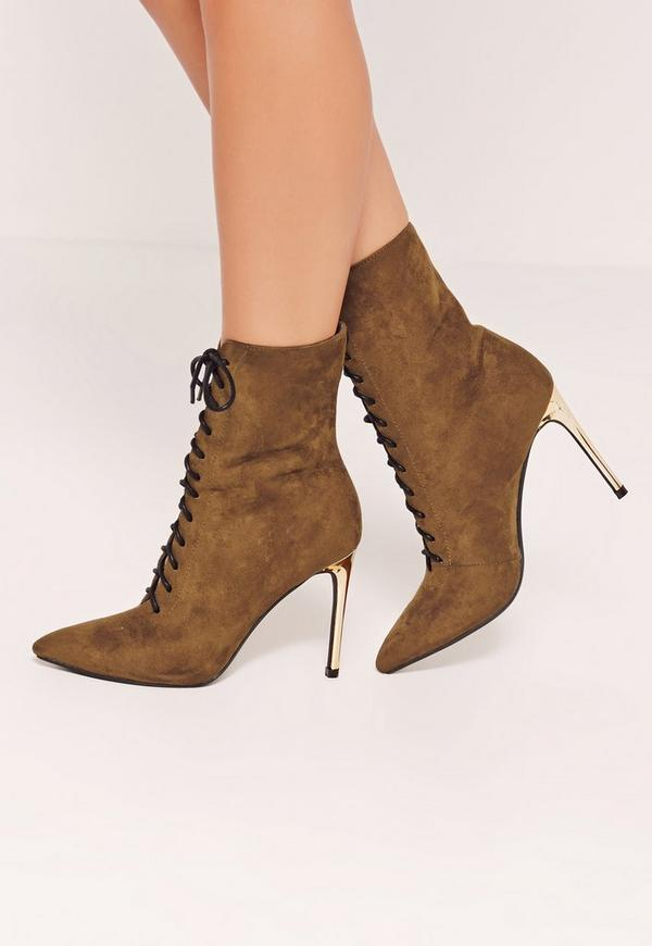 Gold Heeled Lace Up Ankle Boots Brown