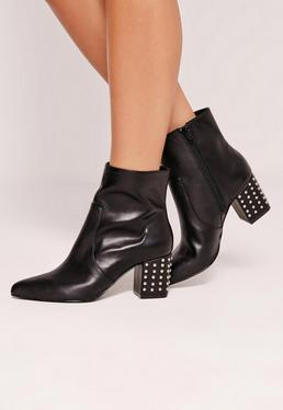 Studded Heel Ankle Boot Black