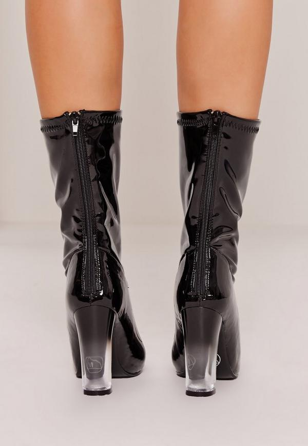 patent transparent heel ankle boots black missguided. Black Bedroom Furniture Sets. Home Design Ideas