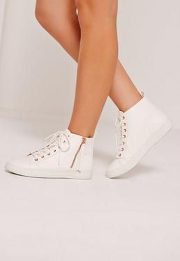 White Contrast Zip High Top Sneakers