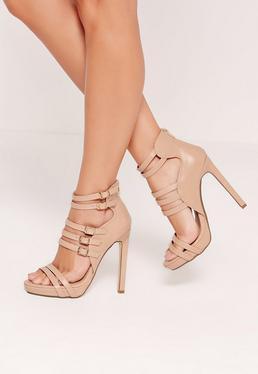 Sandales à plateformes nude attaches multiples