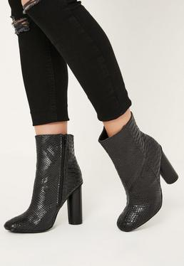 Black Snake Effect Heeled Ankle Boots