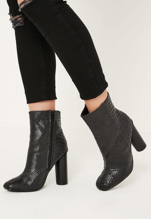 Black Snake Effect Heeled Ankle Boots