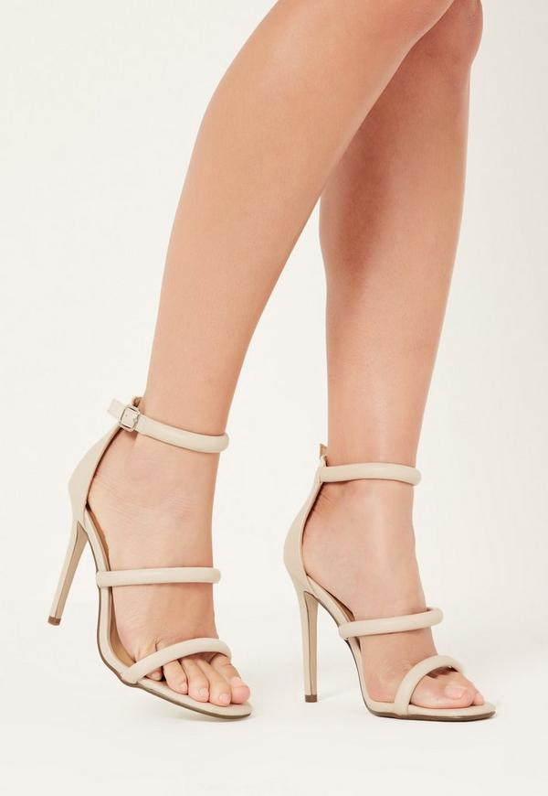 Nude Rounded Three Strap Barely There Heels