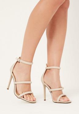 Sandales nude à talon et lanières fines