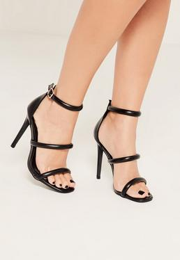 Czarne sandały szpilki z trzema paskami