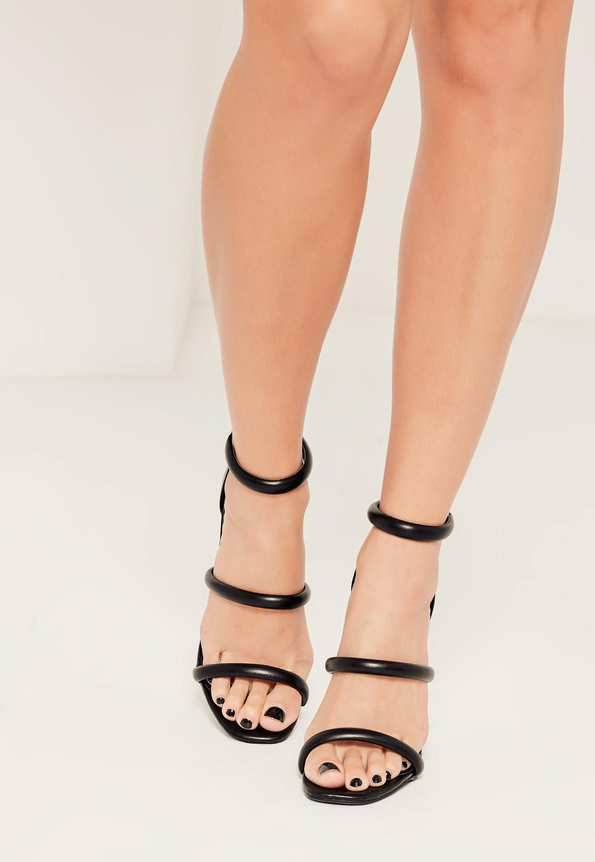 1b38bdd8998f Missguided - Black Rounded Three Strap Barely There Heels