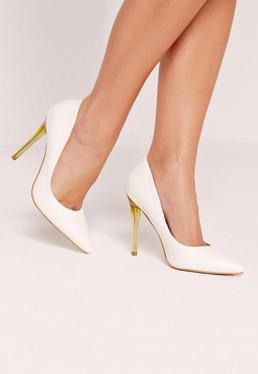 White Faux Leather Transparent Heel Court Shoes