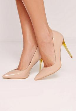 Nude Patent Transparent Heel Court Shoes