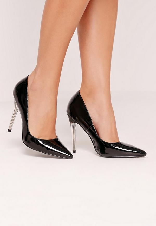 Black Patent Transparent Heel Court Shoes
