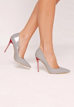 Grey Patent Contrast Heel Court Shoes