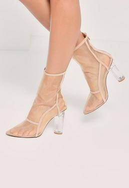 Nude Mesh Panel Clear Heeled Ankle Boots