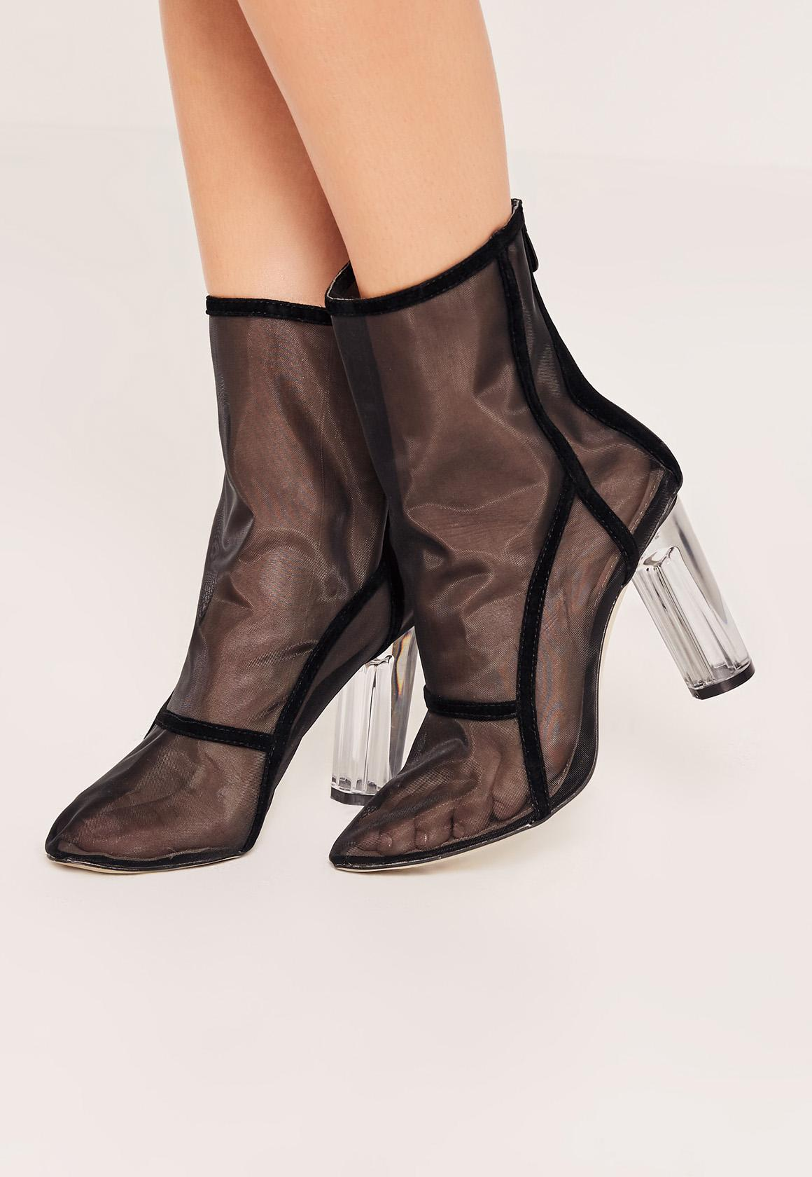 Black Mesh Panel Perspex Heeled Ankle Boots