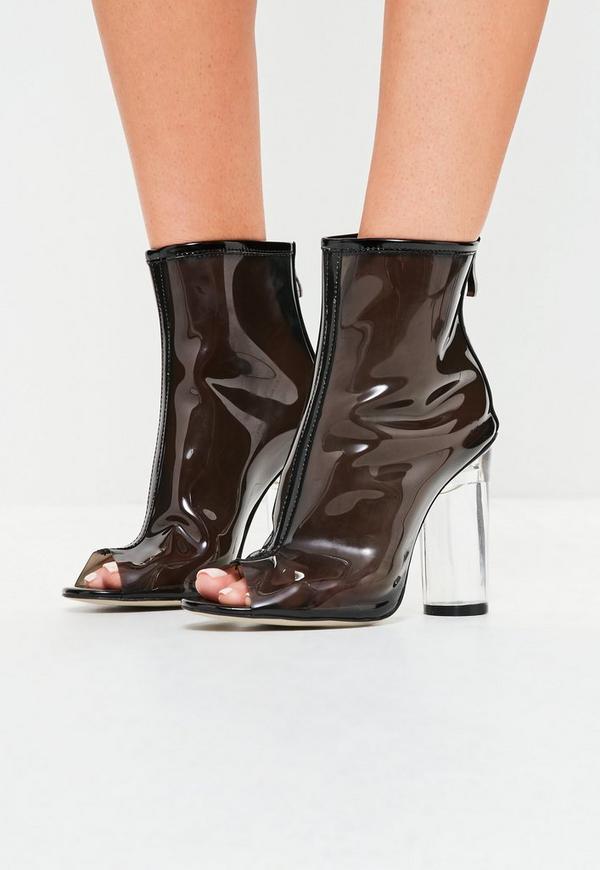 Black Clear Peep Toe Heeled Ankle Boots
