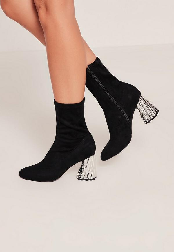Silver Crushed Detail Heeled Sock Boots