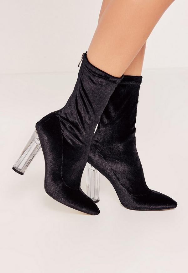 Black Velvet Transparent Heeled Ankle Boots