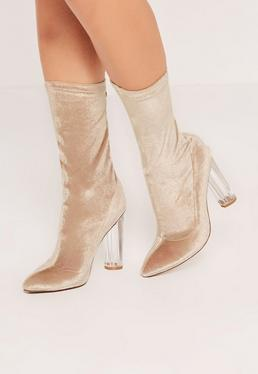 Nude Velvet Transparent Heeled Ankle Boots