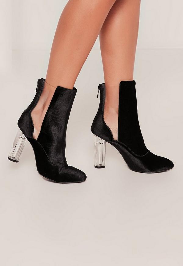 Black Velvet Transparent Cut Out Ankle Boots