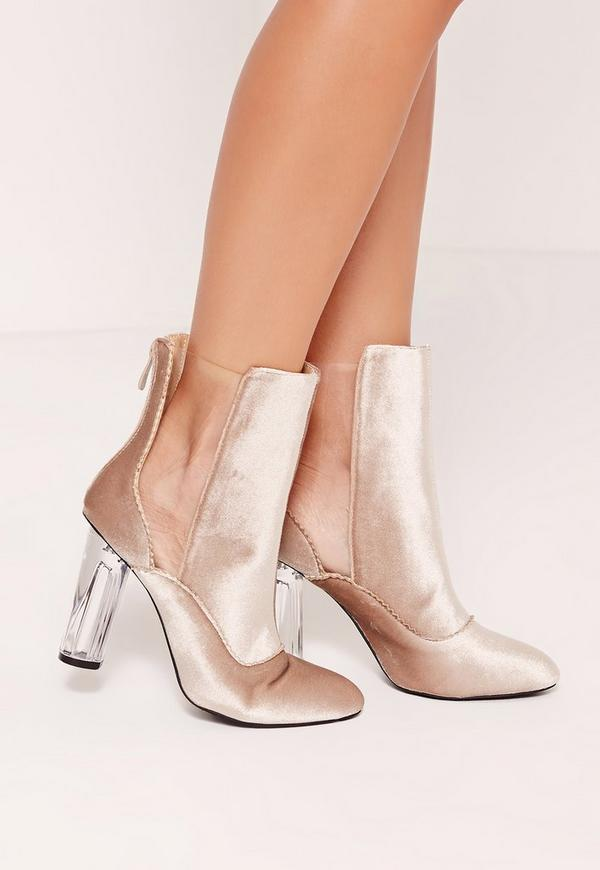 Velvet Plastic Cut Out Ankle Boots Nude