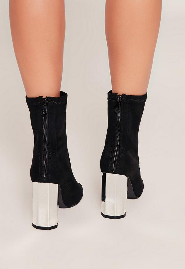 Black Metallic Heel Ankle Boots - Missguided
