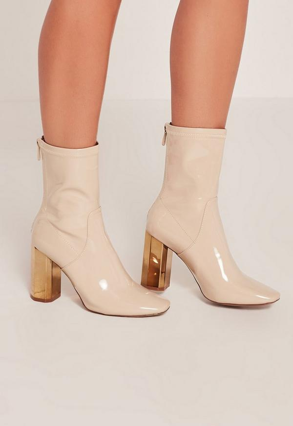 Nude Patent Metallic Heel Ankle Boots