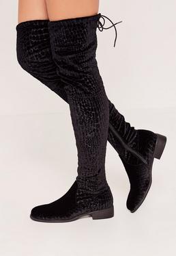 Black Croc Velvet Flat Over The Knee Boots