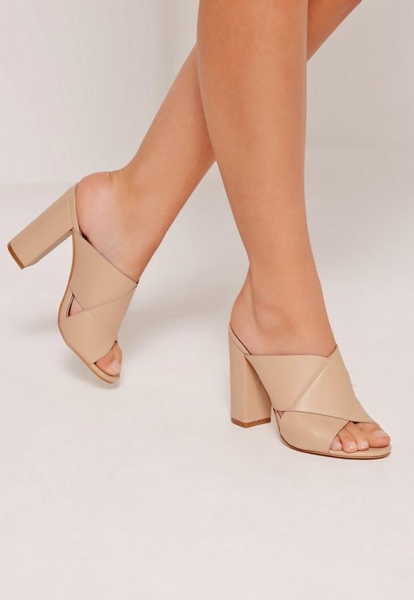 Cross Strap Block Heeled Sandals Nude