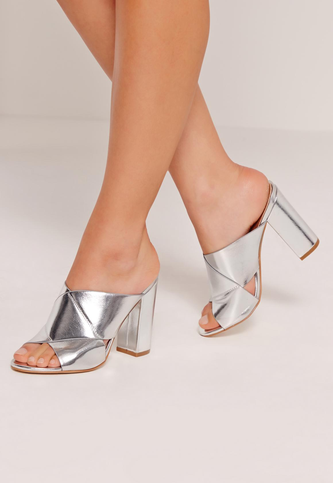 Cross Strap Block Heeled Sandals Silver