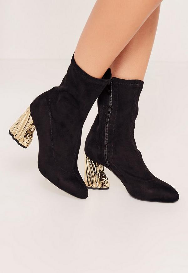 Gold Faux Suede Crushed Heel Sock Boots