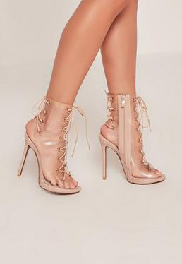 Nude Lace Up Perspex Peep Toe Stilettos