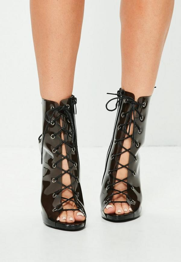 Black Lace Up Perspex Peep Toe Stiletto Boots | Missguided
