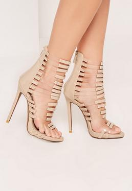 Nude Transparent Panelled Strappy Gladiator Heels