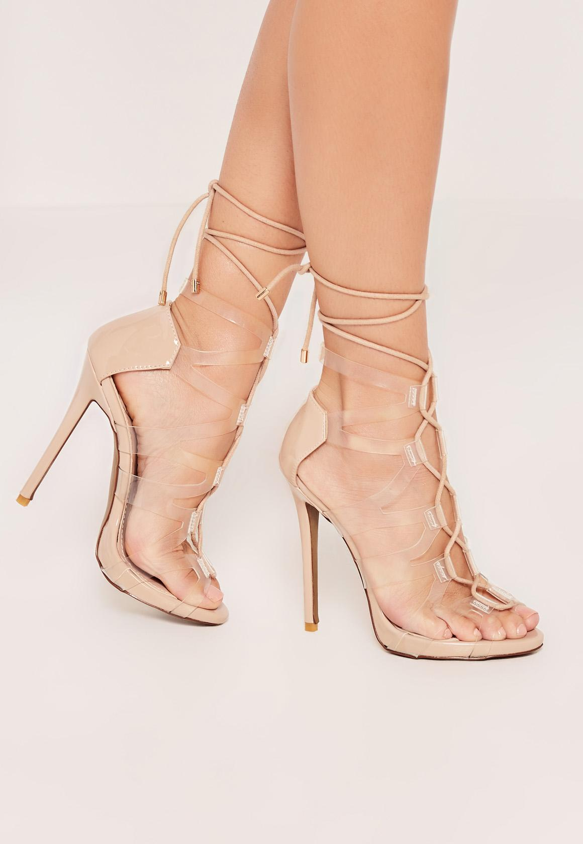 Nude Lace Up Cross Strap Transparent Gladiator Heels | Missguided
