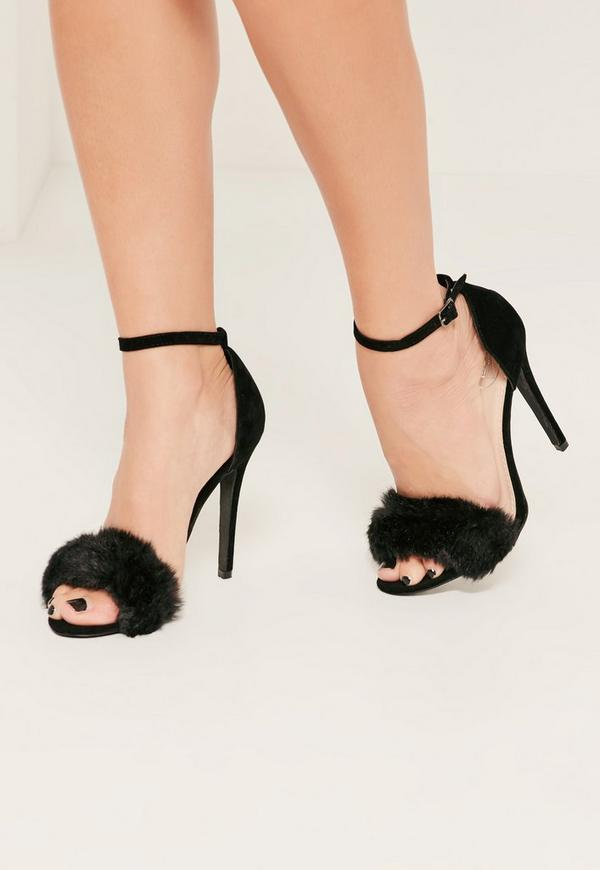 Black Fluffy Strap Barely There Heeled Sandals