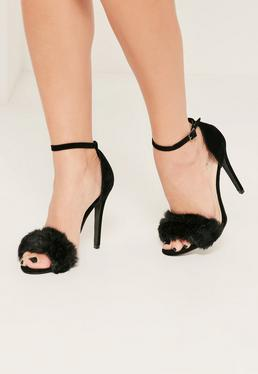 Black Fluffy Vamp Strap Barely There Heeled Sandals
