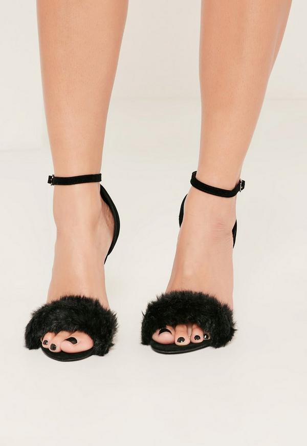 Black Fluffy Strap Barely There Heeled Sandals Missguided