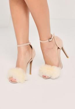 Nude Fluffy Vamp Strap Barely There Heeled Sandals