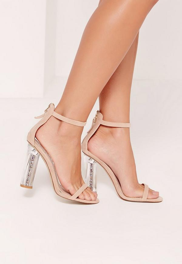Glitter Detail Block Barely There Heels Nude