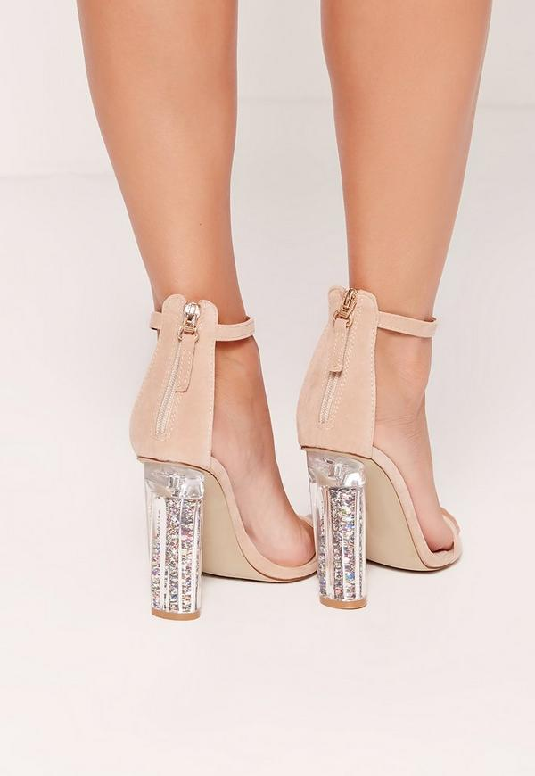 Glitter Detail Block Barely There Heels Nude | Missguided