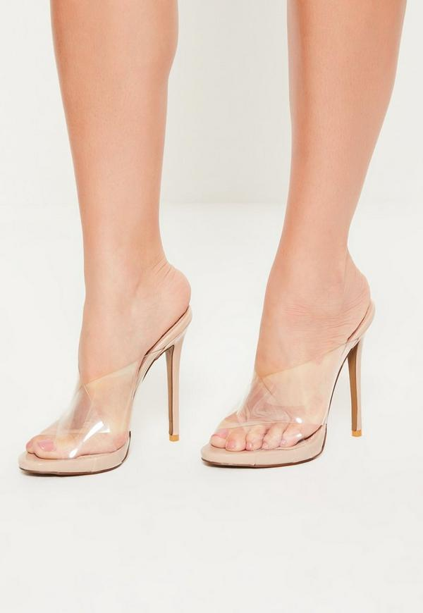 Nude Clear Cross Strap Mules