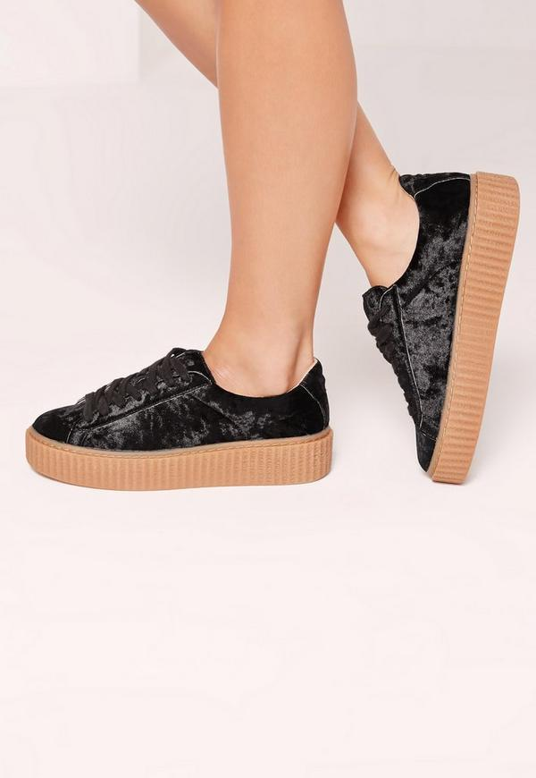 Crushed Velvet Lace Up Flatforms Black