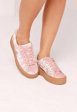 Crushed Velvet Lace Up Flatforms Pink