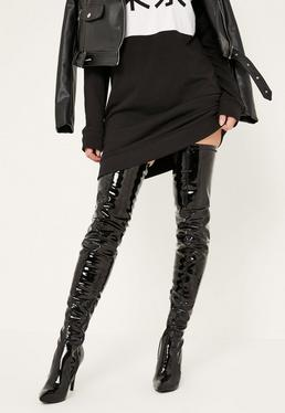 Black Patent Stiletto Over The Knee Boots
